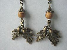 Bronze Leaves & Acorns Earrings Picture Jasper Gemstone Beads Pagan Hedgewitch