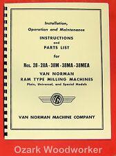 Van Norman 28 28a 38m 38ma 38mea Milling Machine Operator Amp Part Manual 0733