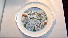 "Villeroy & Boch Laplau NAIF CHRISTMAS Cake Platter, Handles, Red Rim, 11 7/8""D"