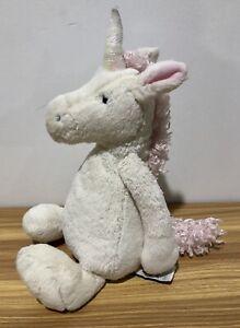 JELLYCAT Bashful Unicorn White & Pink Medium 25cm sitting Soft plush toy EUC