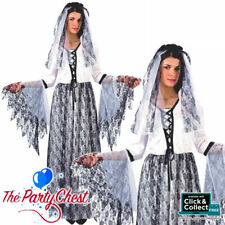 ADULT GHOSTLY BRIDE COSTUME Ladies Halloween Corspe Bride Fancy Dress Outfit 601