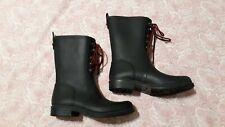 Women's Hannah Lace Up Mid Calf Rain Boots - Merona Black Mud Snow size 10