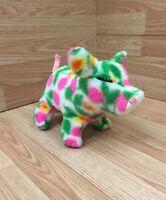 "12"" VINTAGE COLORFUL PINK + GREEN STUFFED PIG ANIMAL FAIR PLUSH TOY"