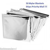 50 PACK • Emergency Solar Blanket Survival Safety Insulating Mylar Thermal Heat