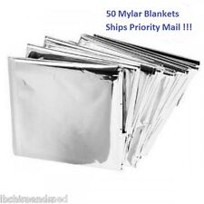 50 PACK • Emergency Solar Blanket Survival Safety Insulating Mylar Thermal Heat