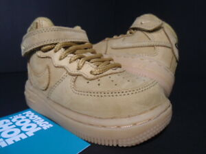 BABY NIKE AIR FORCE 1 MID LV8 TD WHEAT FLAX GREEN OFF WHITE 859338-200 NEW 6C 6