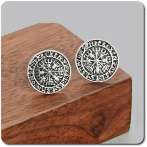 Earrings Ear Stud Vegvisir Thor ´S Viking Vikinger Round Metal Silver