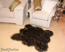 Lodge Cabin Rug Decor 3x5 Black Tip Wolf Luxury Faux Fur Area Rug Modern Style
