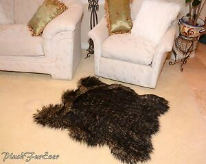 Lodge Cabin Rug Decor 3x5 Black Tip Wolf Luxury Faux Fur Area Rug Cottage Style