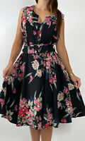 NEW CITY CHIC Black Pink Floral Print Belted Midi Dress Plus Size M AU 18 Party