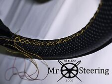 FOR 1933-37 HUMBER 12 PERFORATED LEATHER STEERING WHEEL COVER YELLOW DOUBLE STCH