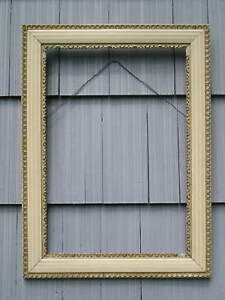 Antique Aesthetic Victorian Cottage White Shell Picture Frame edge loss 18 x 26