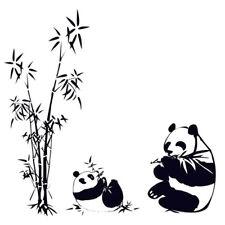 DIY Removable Panda eating bamboo Vinyl Decal Wall Art Sticker  LW