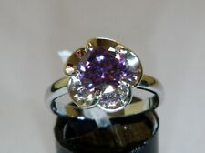 WHITE GOLD FILLED RING WITH AMETHYST CRYSTAL STONE * SIZE O *