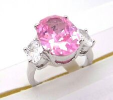 Cubic Zirconia Ring Size 7 Pink Oval Shape Silver Tone & 2 Small Oval Clear