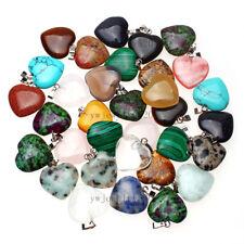 Wholesale 50pcs natural heart stone Gemstone Silver P Bead pendants Fit Necklace