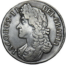 More details for 1688 crown (8 over 7) - james ii british silver coin - nice