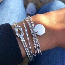 3 Pcs Set Silver Bohemian Bangles Vintage Cuff Bracelets Women Fashion Jewelry
