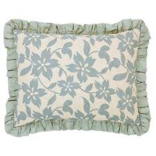 Briar Sage Green Floral Hand-Quilted Linen & Cotton Ruffled Standard Pillow Sham