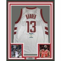 FRAMED Autographed/Signed JAMES HARDEN 33x42 Houston White Jersey Beckett COA
