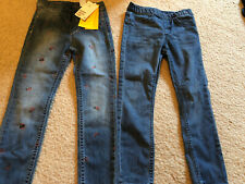 Nwt H&M Girls 4-5 Denim Leggings Ladybug Elastic Waist