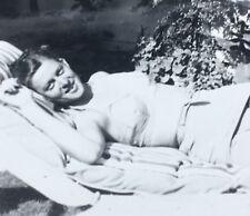"Vintage Photograph Woman Sunbather In 2 Piece Swimsuit Crotch Shot 4.5"""