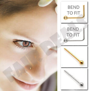 Silver Made 1.8mm Straight Ball End 925 Silver Gold Nose Pin Stud Body Piercing