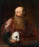 Hand painted old man portrait Oil painting with big beard holding skull canvas