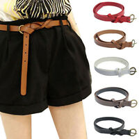 Fashion Women's Belt Narrow Skinny Low Waist Thin Leather Loop Bow Belt gifts