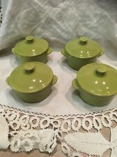 Set of 4 Green Singles Casserole Covered Dish Beautiful