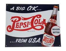 Pepsi Cola A Big OK From USA Bigger Better Retro Novelty Soda Pop Metal Tin Sign
