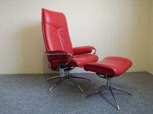 Ekornes Stressless 'City' Leather Recliner & stool Star Base Size medium (369)