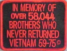 IN MEMORY OF....VIETNAM POW VET MOTORCYCLE BIKER CLUB MILITARY VEST PATCH K-17