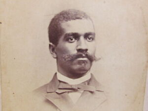 1880's-90's African American gentleman with unusual mustache cabinet photograph