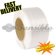 More details for 12mm x 3000m high quality machine pallet strapping white banding coils rolls