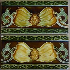 ENGLAND - 2 ANTIQUE ART NOUVEAU MAJOLICA BORDER TILES C1900