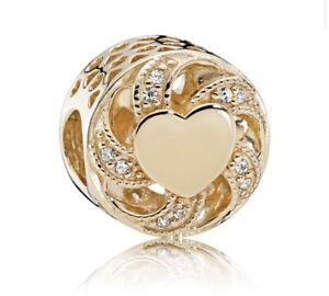 PANDORA Ribbon Heart Charm, 14K Gold & Clear CZ 751004CZ  G585