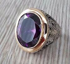 925 Sterling Silver Men Ring Amethyst Gemstone Turkish Heavy Item 19.50 gr