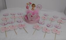 IT'S A GIRL BABY SHOWER STORK 12 CUPCAKE PICKS AND CAKE TOPPER SET DECORATION