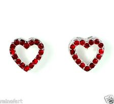 HEART RED EARRINGS MADE WITH SWAROVSKI CRYSTAL LOVE CUTE NEW ELEGANT CHARM