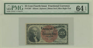 25 Cent Fourth Issue Fractional Currency PMG Choice UNC 64 EPQ Fr #1307