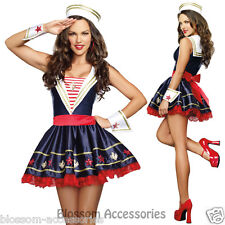 K15 Navy Sailor Girl Uniform Ladies Rockabilly Pin Up Fancy Dress Costume & Hat