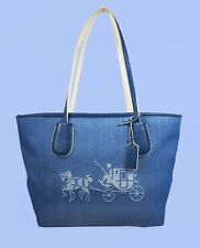 COACH 35337 Taxi  Horse & Carriage Denim/Chalk Canvas & Leather Tote Bag $245.00