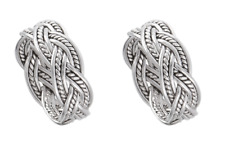 Set of 2 Matching 925 Sterling Silver Celtic Braided Weave Wedding Bands Rings
