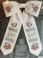 Bow Ties Cross Stitch Kit Bow Floral Door Decoration~Home Sweet Home 08103