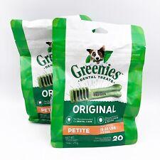 New listing 2X Greenies Original Petite Size 20 count Ea 12 oz Dental Chew Treats for Dogs