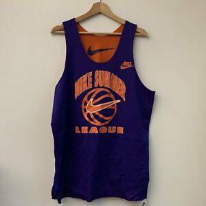 Vtg Nike Summer League Orange & Purple Reversible Mesh Basketball Jersey XL