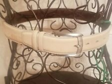 Johnston & Murphy Men's Suede Belt w/Silver Roller Buckle -Beige- $69.50 NWT 30