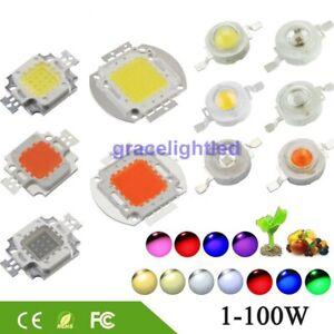 High Power LED Chip 1W-100W COB SMD LED Bead White RGB UV Grow Full Spectrum