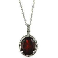 10k White Gold 3.6ct Oval Garnet and Diamond Pendant Necklace